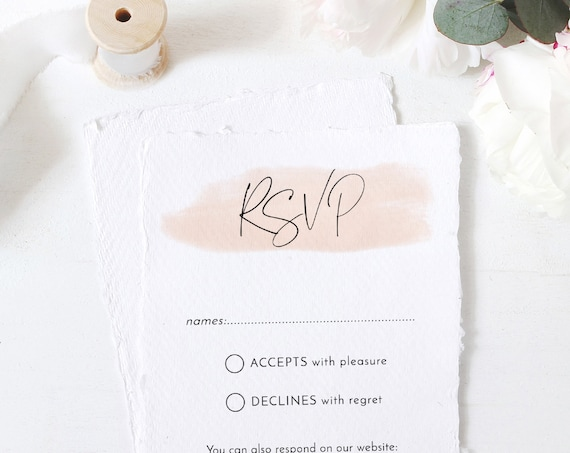 "Blush - Modern Minimalist RSVP cards with a Blush Watercolour Stroke, Blush Wedding, Printable 4x5.5"" & A6 Corjl Templates, FREE Demo"