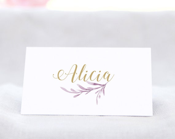 Lilac Wedding Table Place Card Template, Lilac Flat and Folded Name Place Cards. 2 Sizes. Corjl Template, FREE Demo