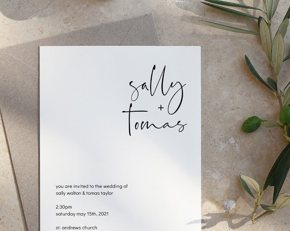 "Moderna - Modern Elegant Wedding Invitation Template, Printable Modern Minimalist Wedding Invite, 4x5.5"", 5x7"", A6 & A5, Corjl, FREE Demo"