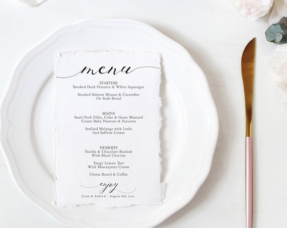 "Lucy - Menu Card Download, Wedding Menus, 4x9"", 5x7"", 8.5x11"" and A4 sizes, Corjl template, FREE Demo"