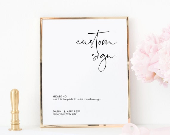 "Moderna - Custom Wedding Sign, Custom Words, Printable Wedding Signs, Printable Templates 5x7"" & 8x10"" Templates, Corjl, FREE Demo"