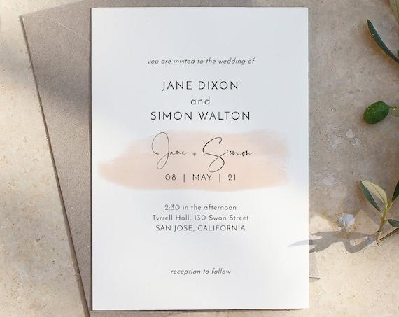 "Blush - Modern Minimalist Invitations with a Blush Watercolour Stroke, Blush Wedding, Printable Invitation, 5x7"", Corjl Templates, FREE Demo"
