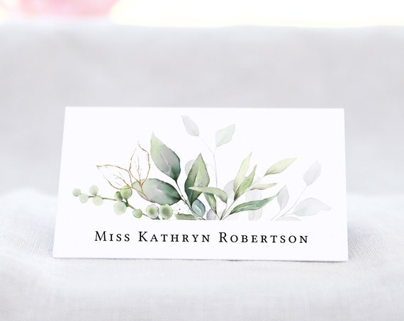 """Leaf & Gold - Flat and Folded Name Place Card Templates, 3x2"""", 3.5x2"""", Printable Greenery Name Cards, Corjl Templates, FREE Demo"""