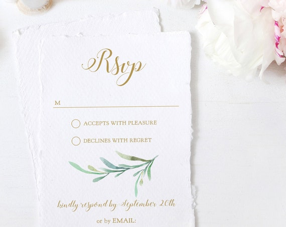 "Greenery - RSVP Card, Greenery Wedding Rsvp Card, Wedding Response Card with Greenery, 4x5.5"" & A6, Corjl FREE Demo"