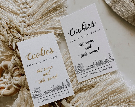 """Tags for Pittsburgh Cookies, Printable 3.5x2"""" Tags, Cookies for all of Yinz, Corjl Template, FREE demo"""
