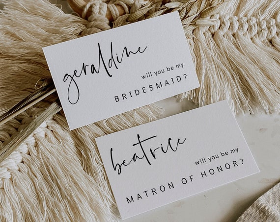"""Modern Bridesmaid Proposal Card, 3.5x2"""" Will You Be My Bridesmaid Cards, Maid Of Honor, Best Man, Corjl Template, FREE demo 