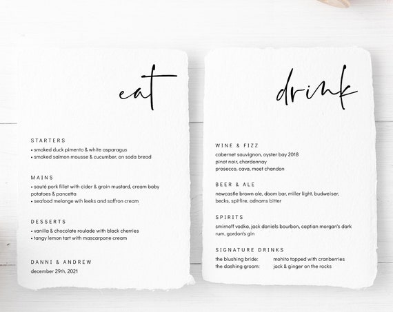"Modern - Food and Drinks Menus, Minimalist Style Printable Menu and Bar Menu, Templates in 5x7"", 4x9"", 8x10"" & A5, Corjl, FREE Demo"