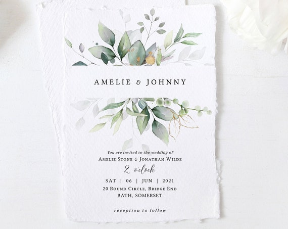 "Leaf & Gold - Beautiful Greenery Wedding Invitations, Greenery Invitations, Garden Invitation, 5x7"", Corjl Templates, FREE Demo"