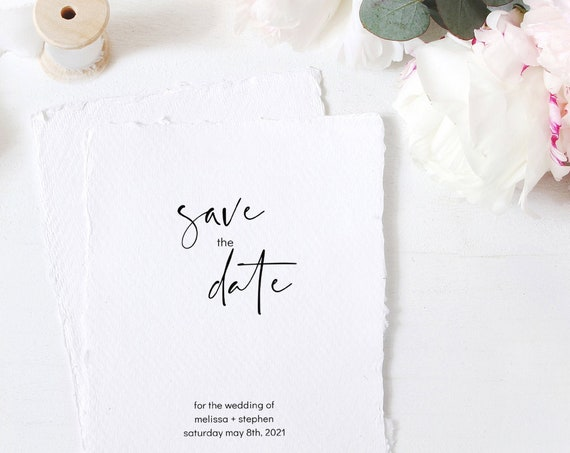 Moderna - Minimal Save the Date Modern Wedding Save the Date Card, Printable Template in 4 sizes, Corjl, FREE Demo