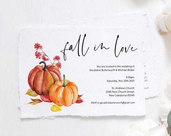 "Fall in Love Pumpkin Wedding Invitations, Printable Fall in Love Invitation Templates, Halloween, 5x7"", Corjl Templates, FREE Demo"