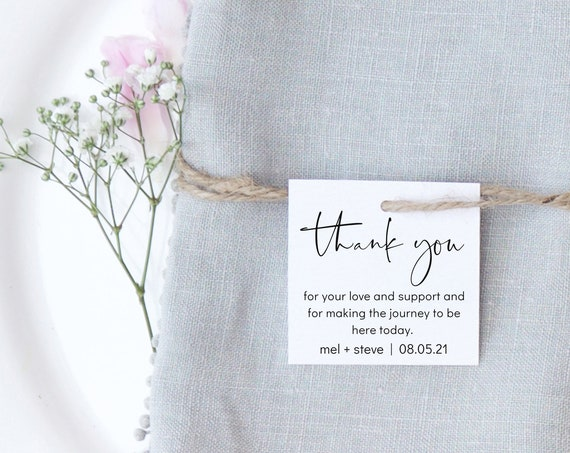 Moderna - Modern Minimalist Thank You Tags, Personalised Favor Tags, Wedding Gift Tags, Printable Template 5 sizes, Corjl, FREE Demo