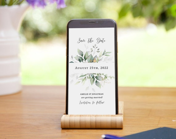 Leaf & Gold - Greenery Electronic Save the Date, Text Message Save the Dates, Evite, Corjl Templates, FREE Demo