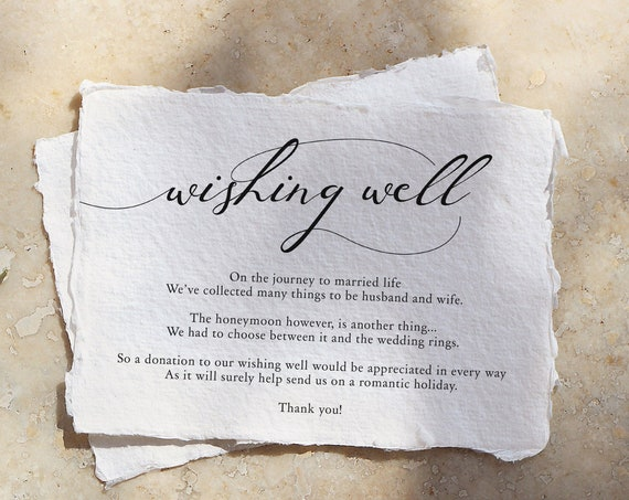 "Lucy - Wishing Well Card, Printable Wishing Well Cards, DIY Wedding, 5x3.5"", A7, Corjl Template, FREE Demo"
