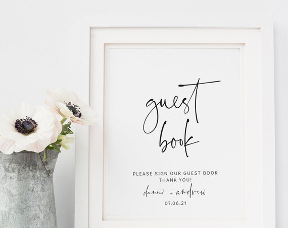 "Moderna - Wedding Guest Book Sign, Modern Guestbook, Printable Guest Book Sign, 8x10"" Template, Corjl, FREE Demo"