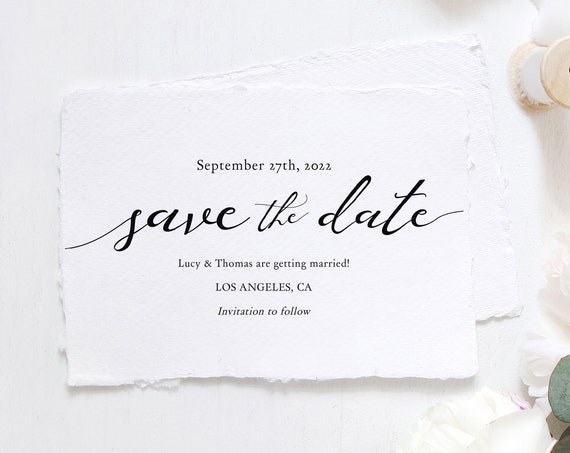 """Lucy - Save the Date Template Download, Printable Save the Date cards, DIY Wedding Save the Date, 5x3.5"""" and A6, Corjl Template, FREE Demo"""
