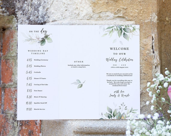 Leaf & Gold - Wedding Weekend Program, Trifold Welcome Program with Useful Information, Printable Template, Corjl Templates, FREE Demo