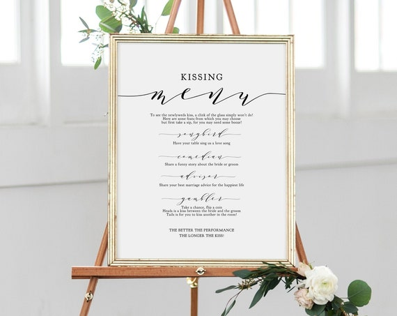 "Kissing Menu, Wedding Ideas, Kissing Menu Printable Sign, Wedding Games, Wedding Signage, 8x10"" and 18x24"", ""Wedding"" Corjl FREE Demo"