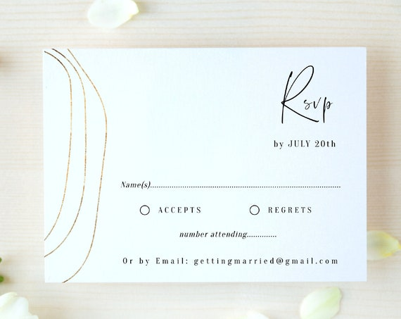 "Abstract - Gold Modern Wedding RSVP, Minimalist Gold Response Cards, Gold Wedding, 5.5x4"" & A6, Corjl Templates, FREE Demo"