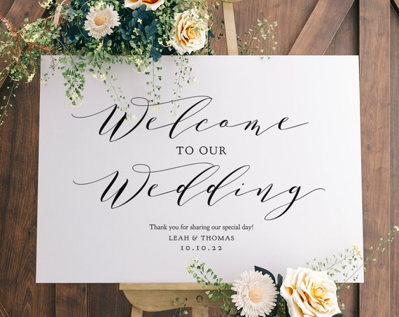 "Welcome Sign, Welcome to our Wedding Sign Printable, 6 sizes 16x20"", 18x24"", 24x36"", A1, A2, A3, ""Wedding"" Corjl FREE Demo"