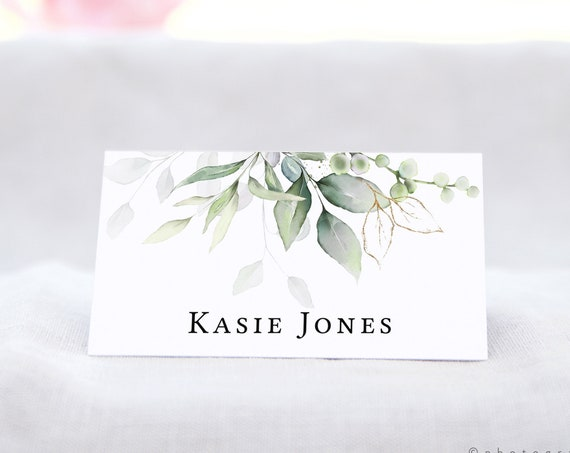 """Leaf & Gold - Flat Name Place Card Templates, Pretty Name Cards, 3.5x2"""", Printable Greenery Name Cards, Corjl Templates, FREE Demo"""