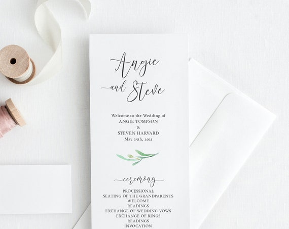 "Elegant Wedding Programs, 4x9"" Printable Wedding Program Order of Service with Greenery, Corjl FREE Demo, Try before you buy. 'Angie'"