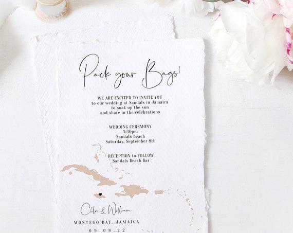 "Destination - Caribbean Wedding Invitation, Destination Wedding Jamaica Invitations, Antigua Wedding, 5x7"", Corjl Templates, FREE Demo"