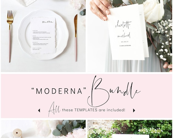 Modern - 20+ Wedding Bundle, Modern Minimalist Wedding, Wedding Stationery Printable Templates, Corjl, FREE Demo