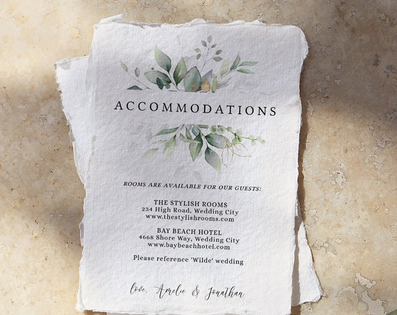 "Leaf & Gold - Accommodations or Information Card, Beautiful Greenery Wedding Enclosure Cards, Printable Templates, 4x5.5"", Corjl FREE Demo"