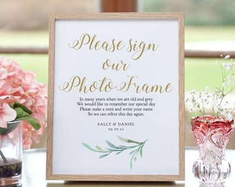 """Please Sign Our Photo Frame and leave a message, printable guest book sign, 8x10"""", Greenery, Wedding Signage, Corjl Template, FREE demo"""
