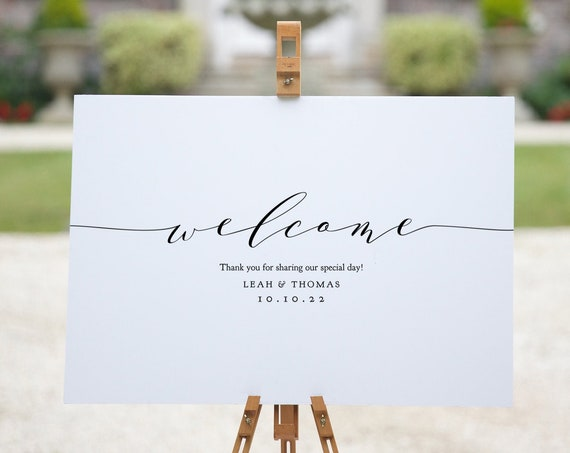 Minimalist Wedding Welcome Sign Template, Modern Wedding Welcome Sign, Printable Welcome Sign Wedding, Corjl Wedding Sign