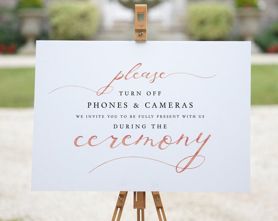 LucyRose - Turn Off Phones & Cameras During Ceremony Printable Signs, DIY Wedding, Rose Gold EFFECT, Corjl FREE demo