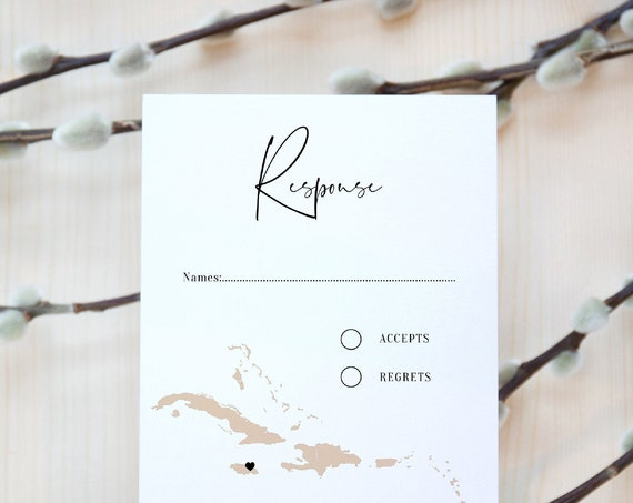 "Destination - Caribbean Wedding RSVP Card, Destination Wedding Jamaica Response Cards, Antigua Wedding, 4x5.5"", A6 Corjl Templates FREE Demo"
