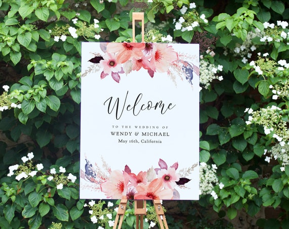 "Boho Floral Welcome to the Wedding of Sign, Flower Welcome Sign Template, Corjl Template, FREE Demo, ""Angie"" 16x20"", 18x24"", 24x36"", A1, A2"