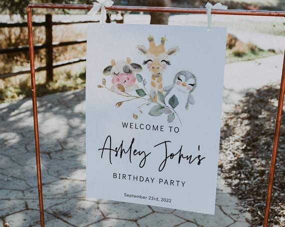 Animal Birthday Party Welcome Signs, Printable Birthday Signs, Birthday Party for Boys or Girls, Corjl Template, FREE Demo | 88