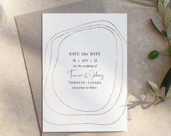 """Abstract - Gold Border Save the Dates, Gold Save the Date, Modern Save the Date Cards, 5x7"""", 4x5.5"""" & A6, Corjl Templates, FREE Demo"""