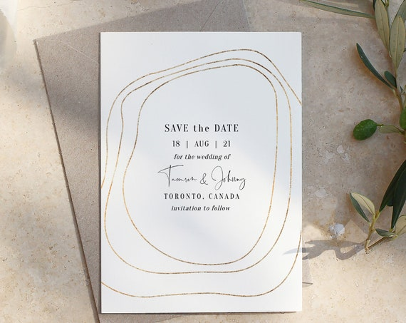 "Abstract - Gold Border Save the Dates, Gold Save the Date, Modern Save the Date Cards, 5x7"", 4x5.5"" & A6, Corjl Templates, FREE Demo"