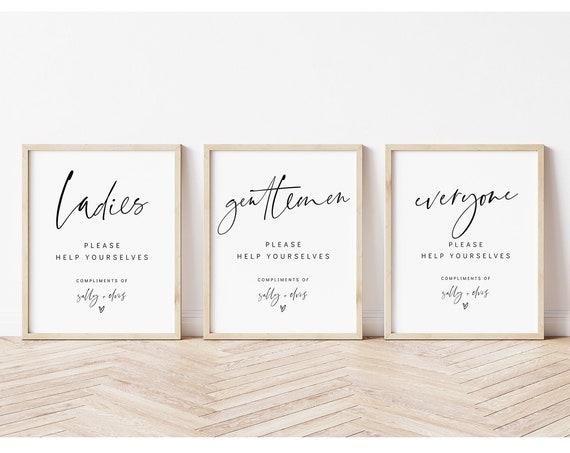 Ladies, Gentlemen, Everyone Help Yourselves, Printable Bathroom Signs, Wedding Bathroom Basket, 3 Sizes, Corjl Template, FREE demo | 86
