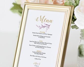 Lilac Wedding Menu, Printable Menu Templates for a Lilac Themed Wedding, Corjl Template, FREE Demo