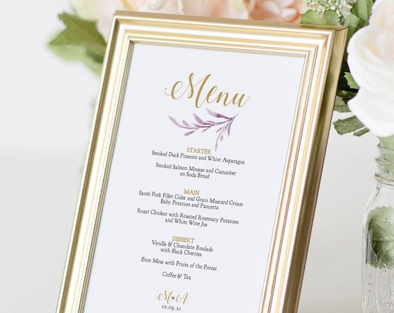 Lilac Wedding Menu, Printable Menu Templates for a Lilac Themed Wedding, Corjl Template, FREE Demo