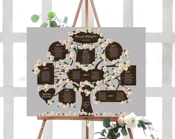 """Tree Table Seating Plan Template, up to 20 tables, 18x24"""", 24x36"""", A2 and A1 sizes, Wedding Tree, Corjl Templates, FREE Demo"""