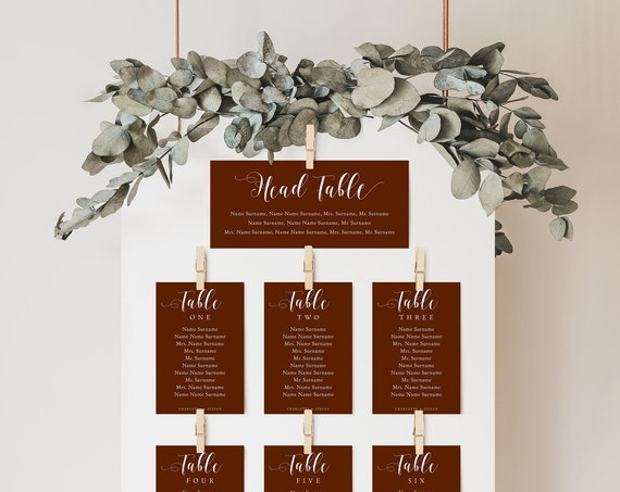 DIY Seating Chart, Printable Wedding Seating Plan Cards with Any Colour Background, DIY Table Plan 'Mr. & Mrs.' Corjl Templates, FREE Demo