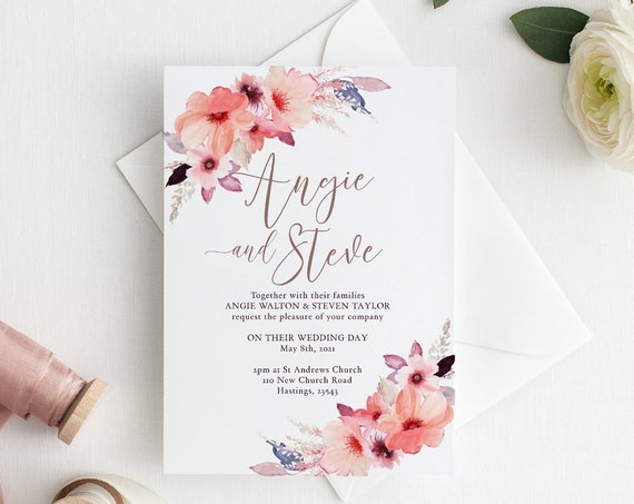 "Floral Wedding Invitation Template, Printable Invitation with flowers, Corjl, FREE Demo, ""Angie"", in 3.5x5"", 4x6"", 5x7"", 6.25"" square and A6"