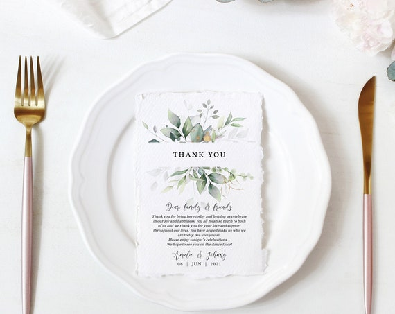 "Leaf & Gold - Thank You Note, Greenery Wedding Thank You Card Printable Template, 4x6"", 5x7"", Corjl Templates, FREE Demo"
