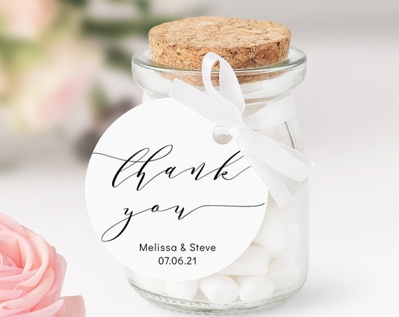 "2"" Round Favor Tags, Thank You Wedding Favour Tag Template, Printable Thank You Tags ""Wedding"" Corjl Template, FREE Demo"