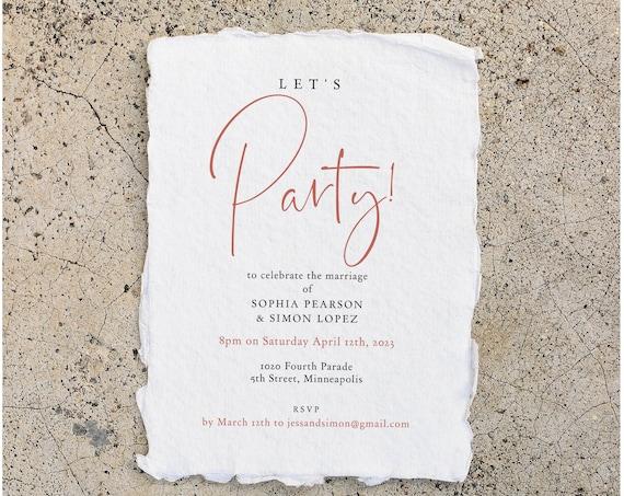 Rose - Let's Party Evening Invitation, Rose Gold Evening Reception, Printable Templates, Wedding Reception, Corjl Templates, FREE Demo