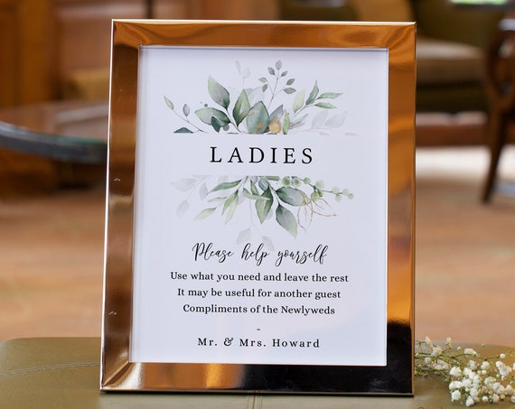 "Leaf & Gold - Bathroom Basket Signs, Printable Wedding Basket Signs, Ladies Gents, 5x7"", 8x10"", 12x16"", Corjl Templates, FREE Demo"