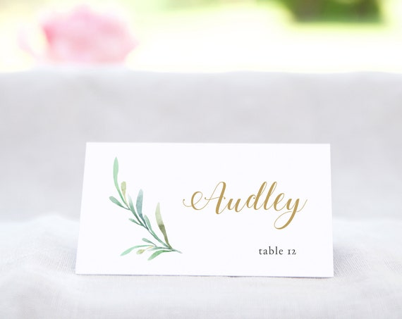 "Greenery Wedding Table Place Card Template - Flat Name Place Cards in 4x2"" and 3.5x2.5"" DIY Place Cards, Corjl Template, FREE Demo"