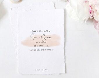 "Blush - Blush Watercolour Save the Dates, Printable Save the Date, 5x7"", 4x5.5"" & A6, Corjl Templates, FREE Demo"