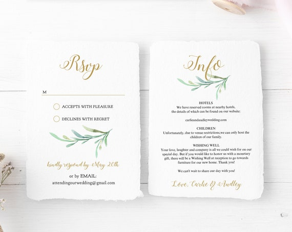 Greenery Wedding Invitation Set Templates, Printable Wedding Invitations, Rsvp and Details cards, Corjl Templates, FREE Demo