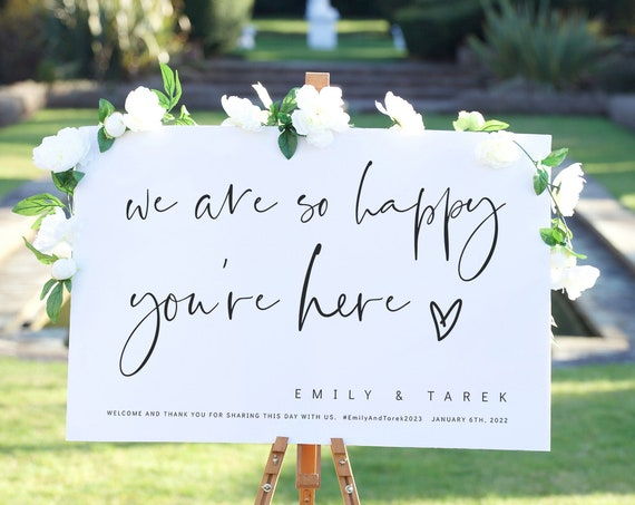 Wedding Welcome Sign, Wedding Decor, We Are So Happy You're Here, Printable Wedding Signs, Modern Minimalist Corjl Template, FREE Demo | 86